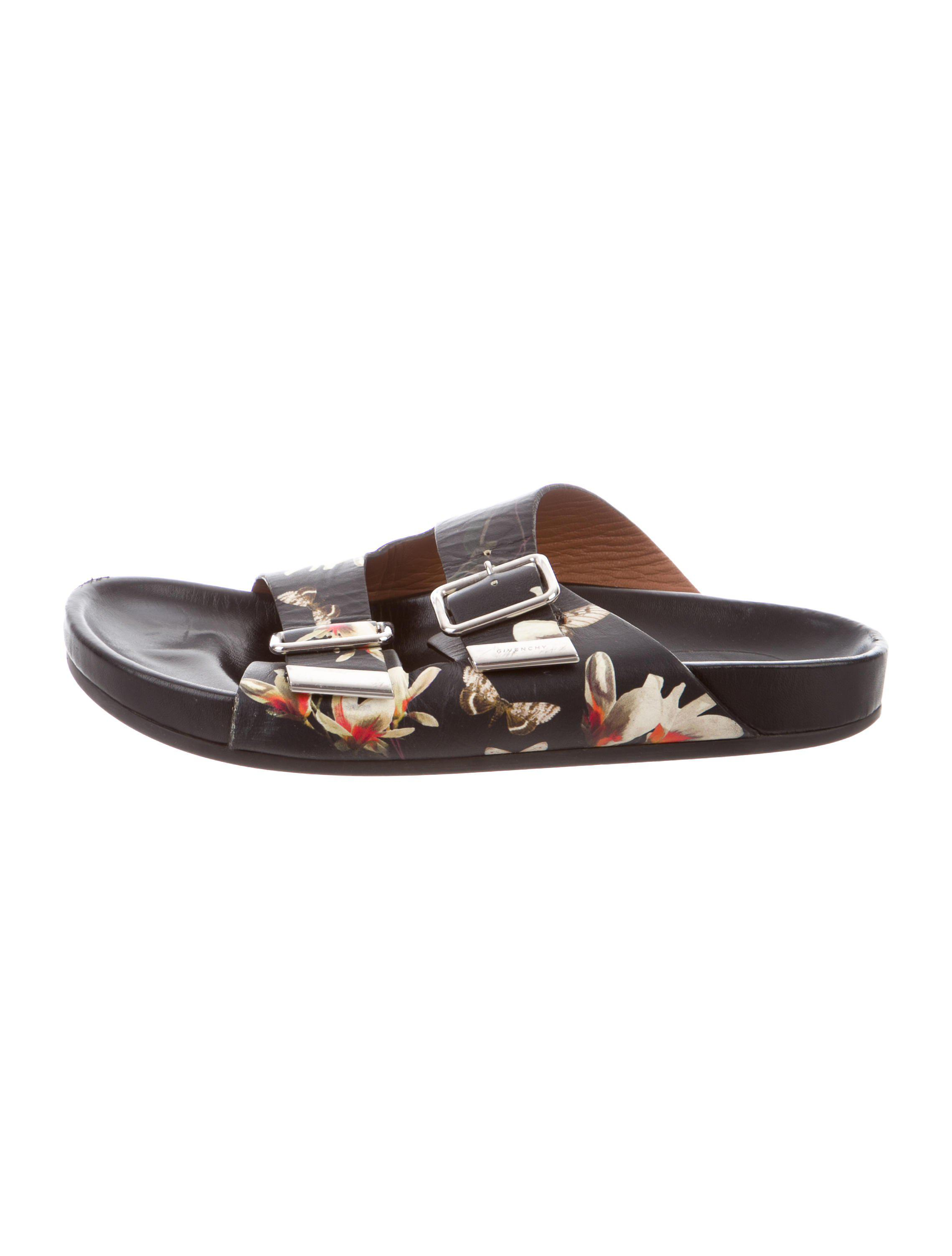 1c7a4ac70ade52 Lyst - Givenchy Floral Slide Sandals Black in Metallic