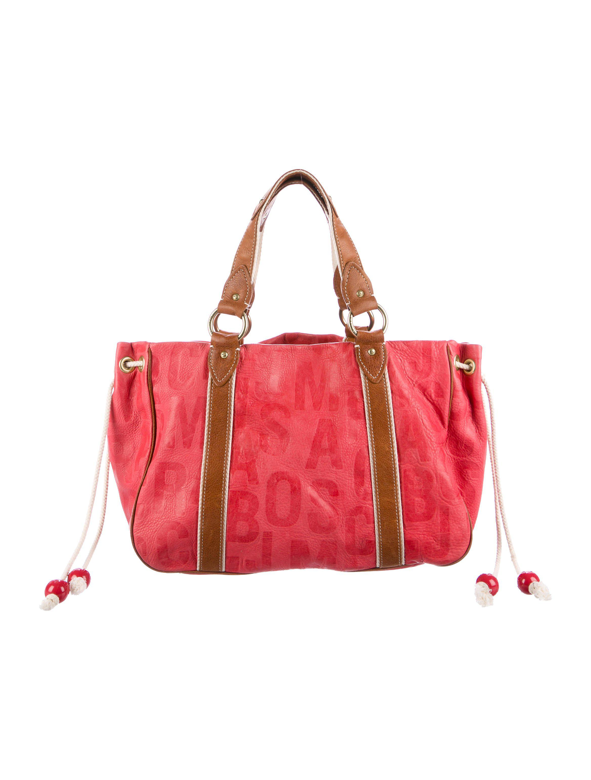 359eccc618e1 Lyst - Marc Jacobs Embossed Leather Canvas Trimmed Tote Bag Coral in ...