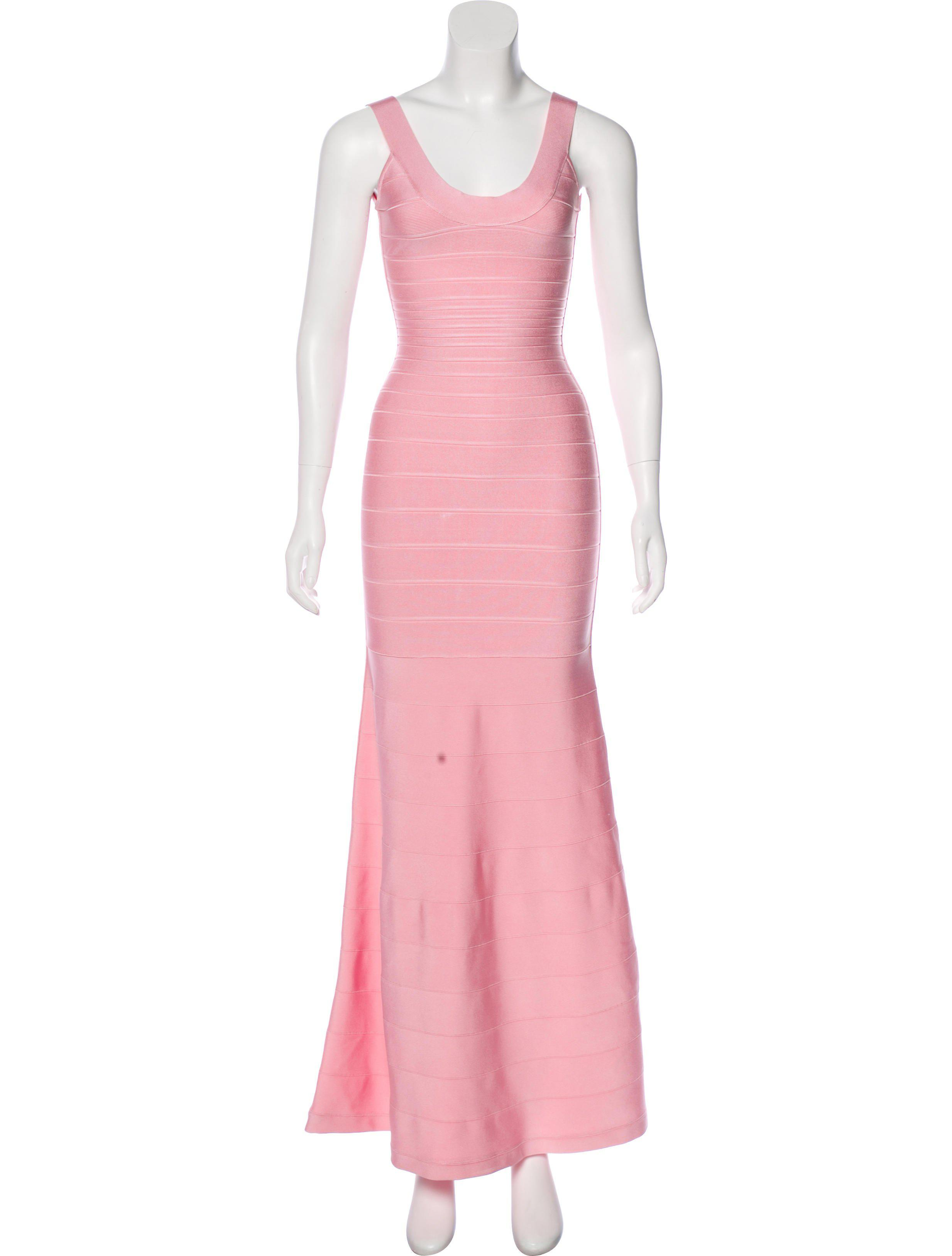 66fba4825df Lyst - Hervé Léger Ellen Bandage Gown in Pink