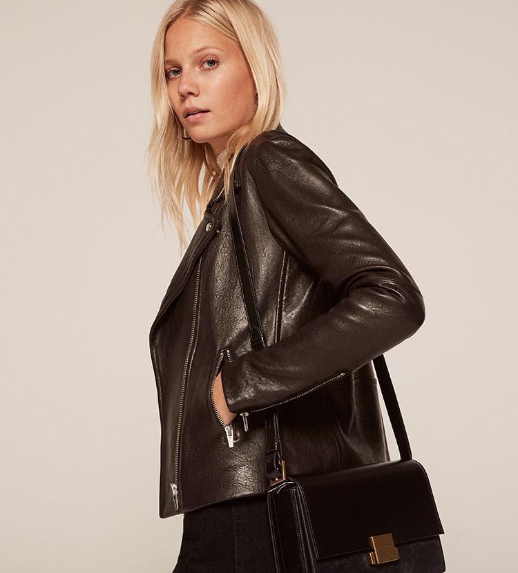lyst reformation bad leather jacket in black. Black Bedroom Furniture Sets. Home Design Ideas