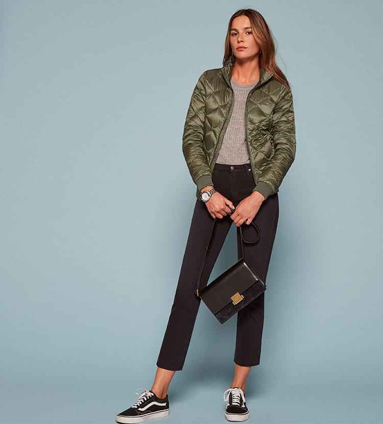 f356e0acc Reformation Patagonia Prow Bomber Jacket in Green - Lyst