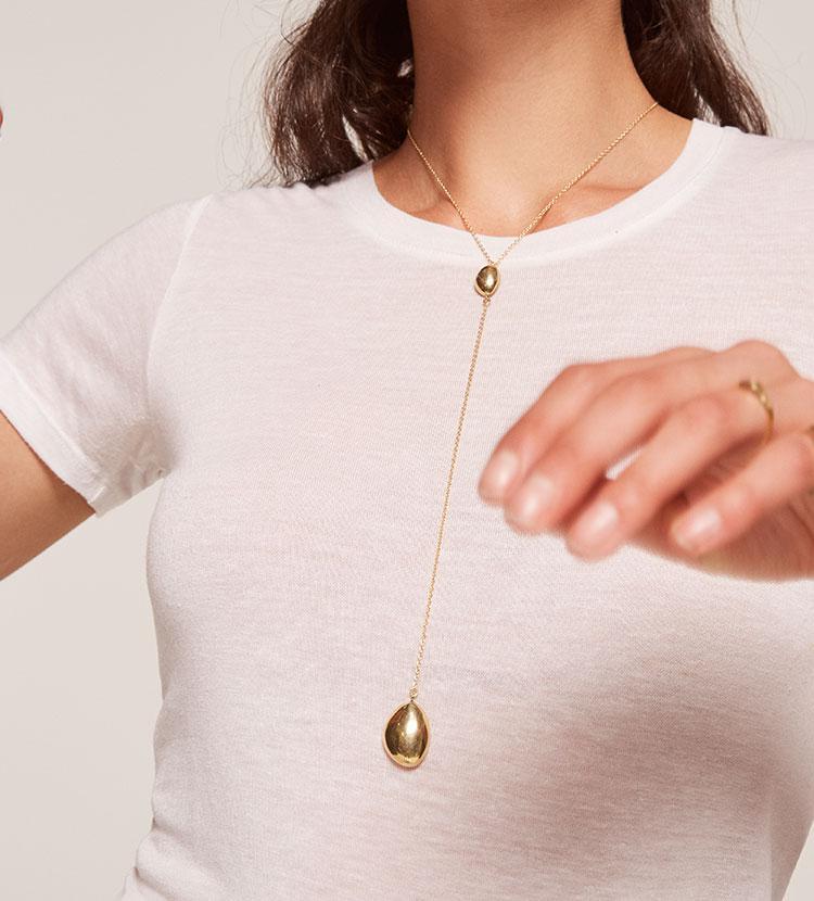 Soko Sabi Lariat Necklace Gold K6UMjwd3