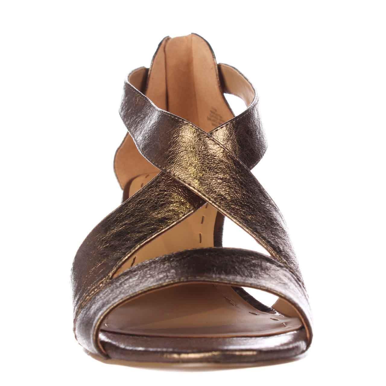 Nine West Ronton Cross Strap Wedge Sandals Gold In
