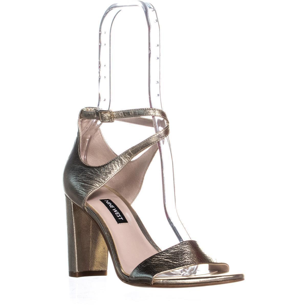 68bf7578b7c9 Nine West - Metallic Nunzaya Heeled Ankle Strap Sandals - Lyst. View  fullscreen