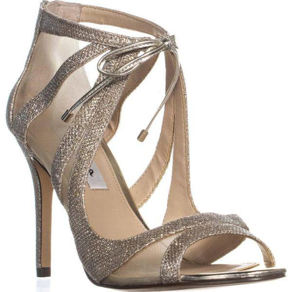 41191582ce6a23 Nina Cherie Strappy Mesh Tie Peep Toe Dress Sandals in Metallic - Lyst