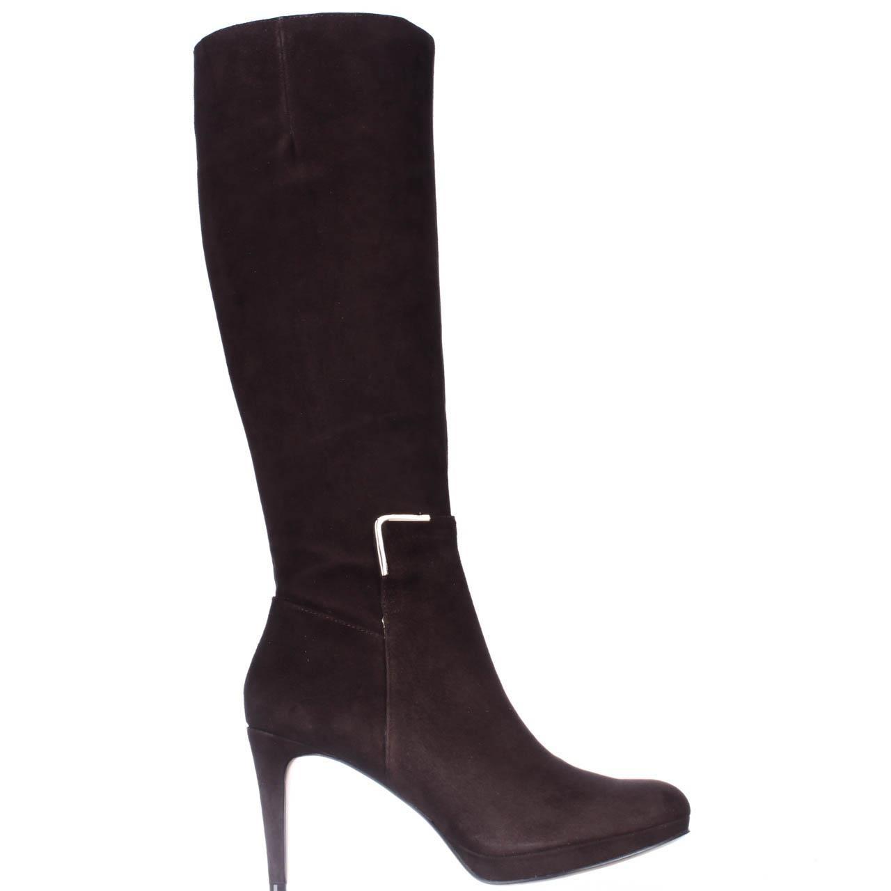nine west evah knee high heel boots in brown lyst