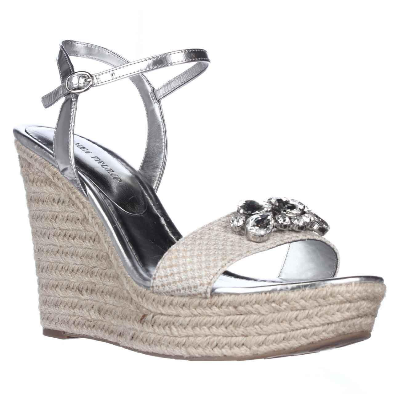 Lyst Ivanka Trump Hasco Embellished Wedge Sandals In Natural