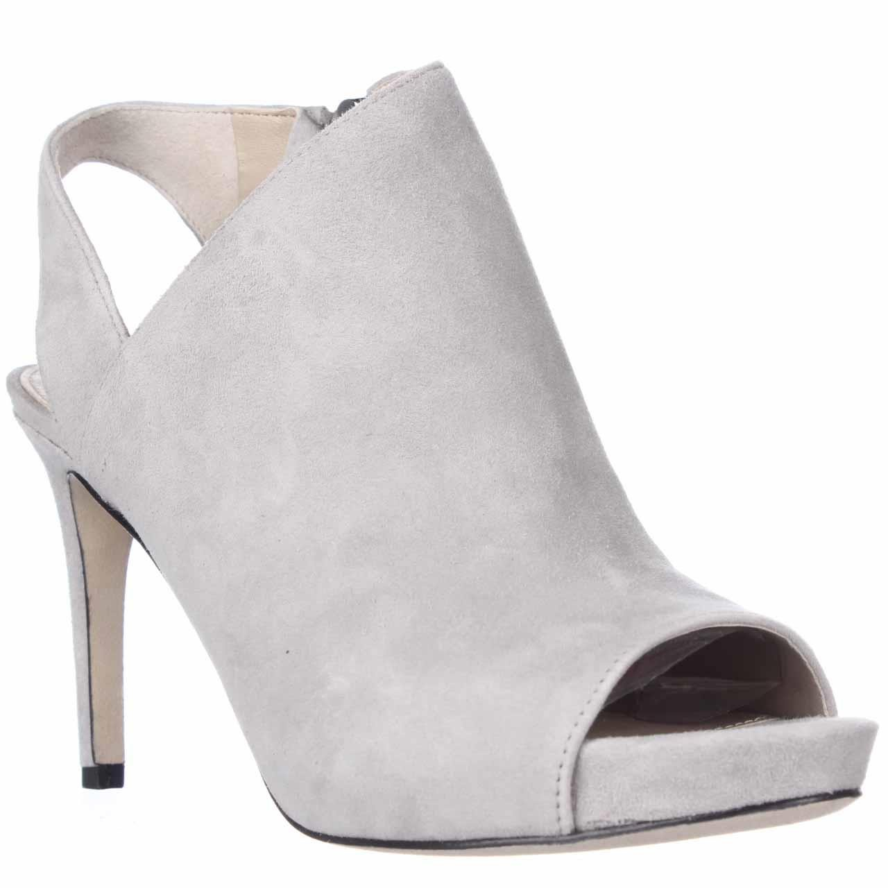Via Spiga Nariah Peep Toe Heel Booties In Gray Lyst