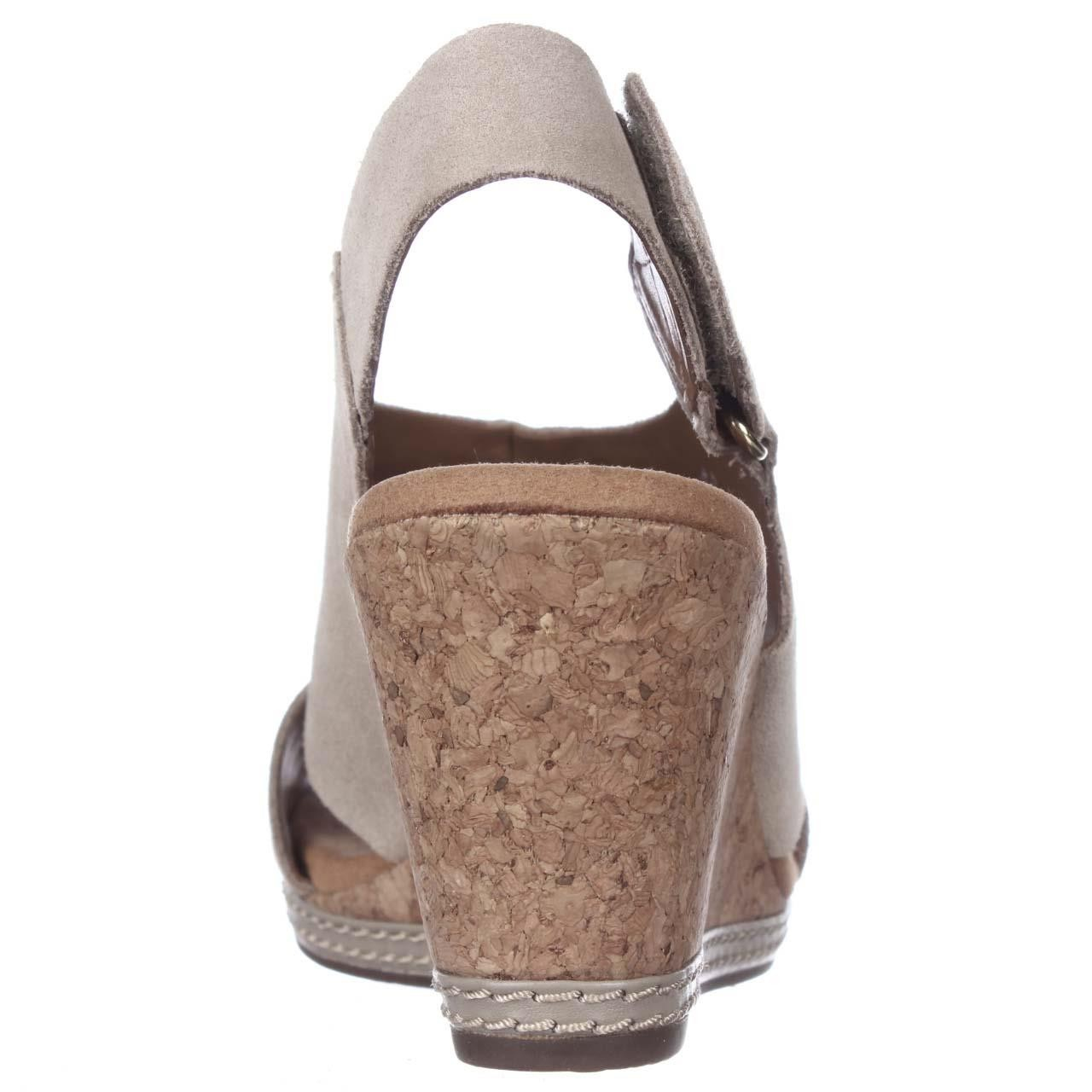Clarks Helio Float4 Peep Toe Slingback Wedge Sandals In