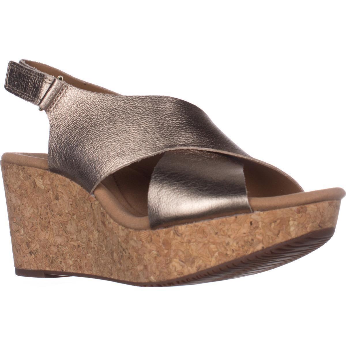 d5a312e9c7a2 Lyst - Clarks Annadel Eirwyn Comfort Wedge Sandals in Metallic