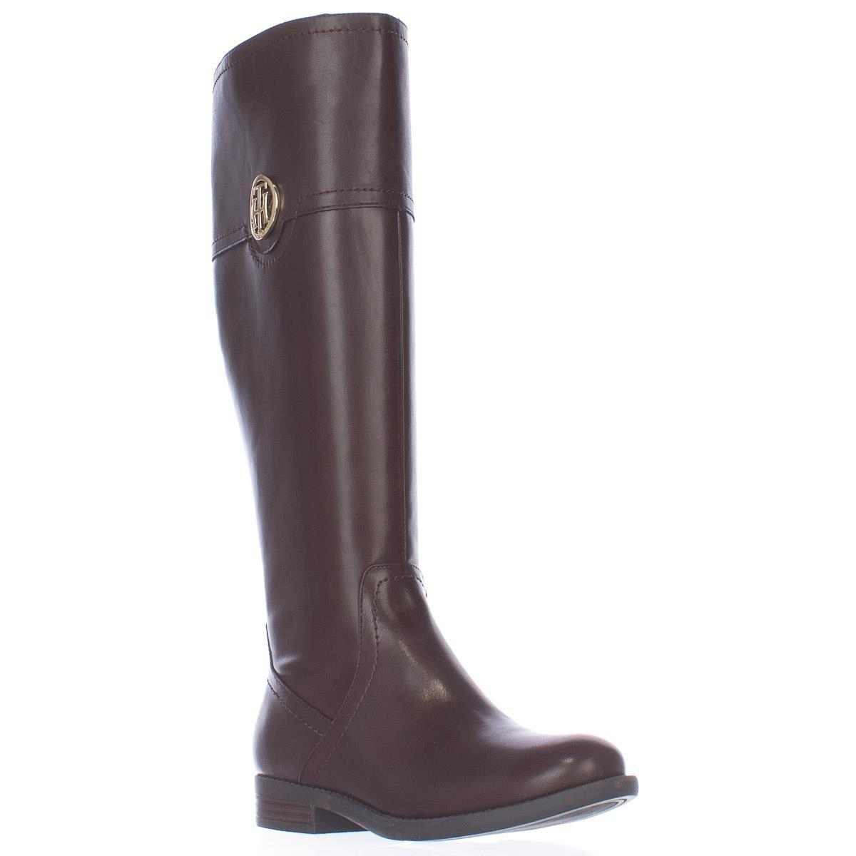 tommy hilfiger silvian wide calf logo riding boots in brown lyst. Black Bedroom Furniture Sets. Home Design Ideas