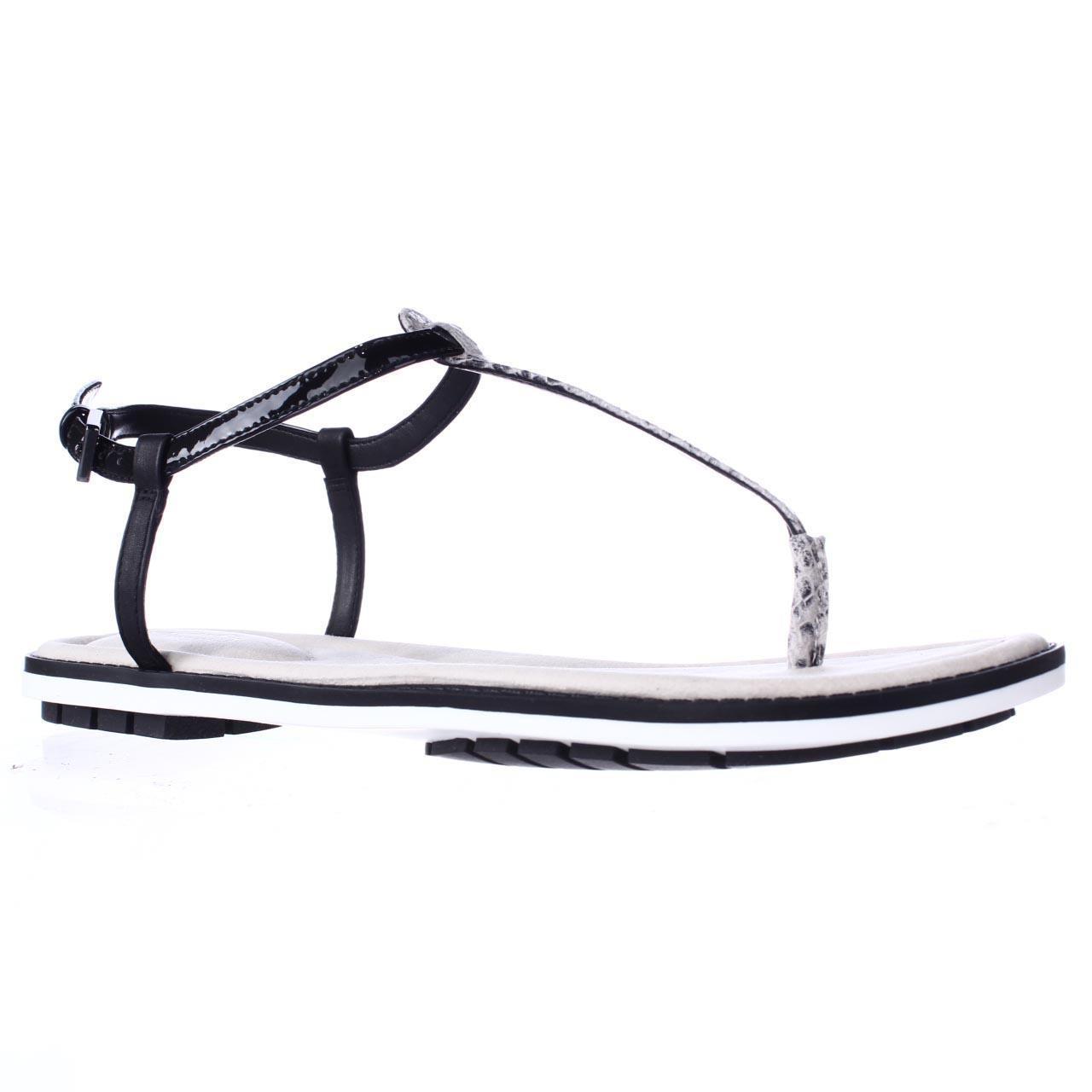 0b6bcd27383 Lyst - Clarks Seattle Spice T-strap Flat Sandals - Black Snake in Black