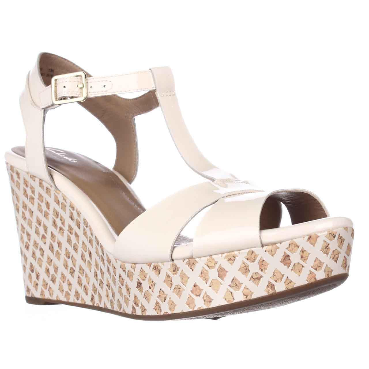 200a16d9f9d Lyst - Clarks Amelia Roma Wedge T-strap Sandals in Natural
