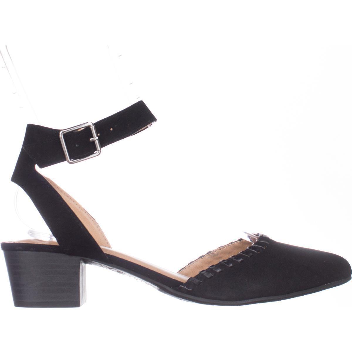 Espirt Saffron Pointed Toe Ankle Strap Block Heel Pumps