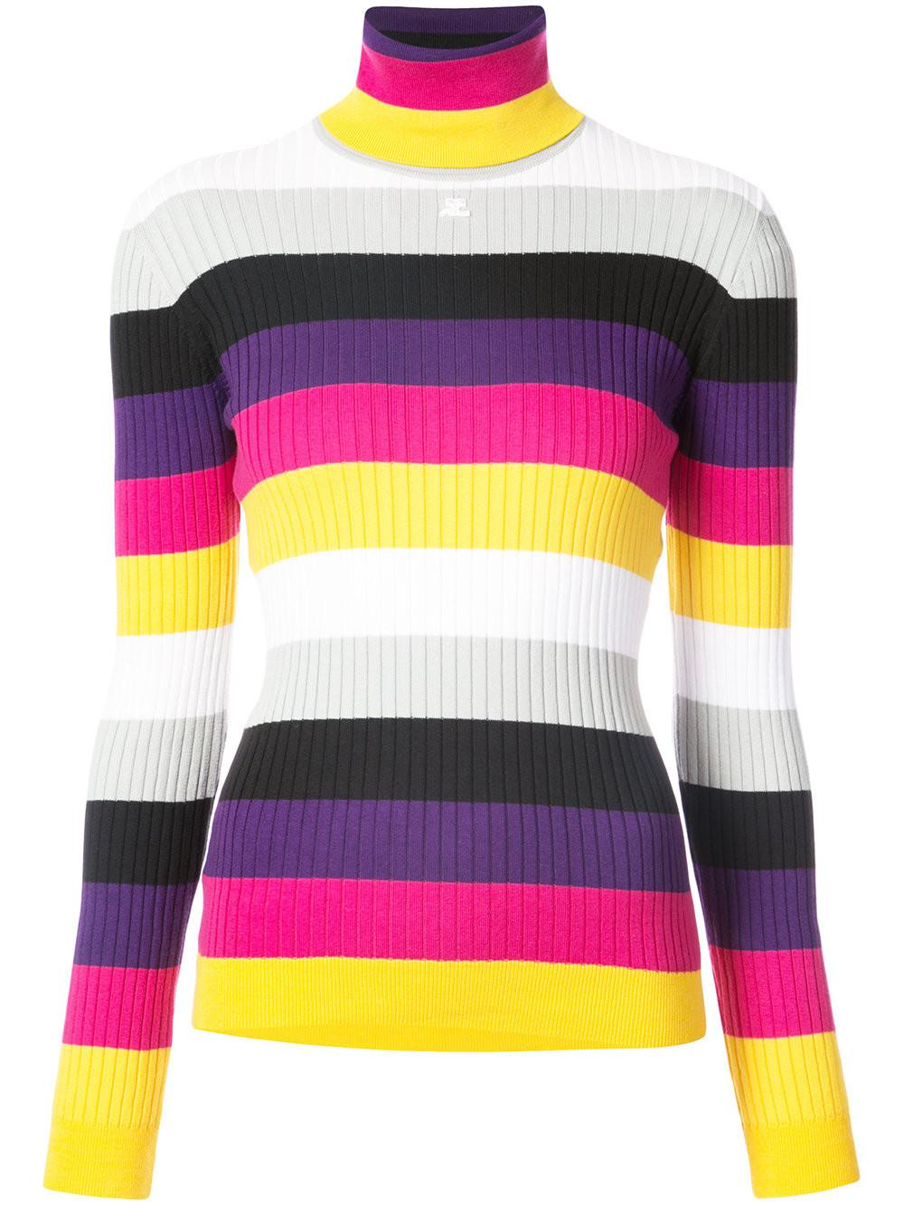 Courreges Striped Turtleneck Sweater | Lyst