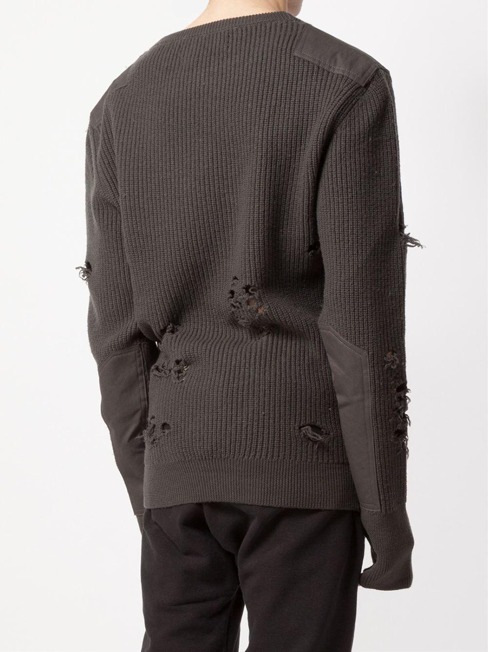 Yeezy Wool Distressed Knit Sweater in Black for Men