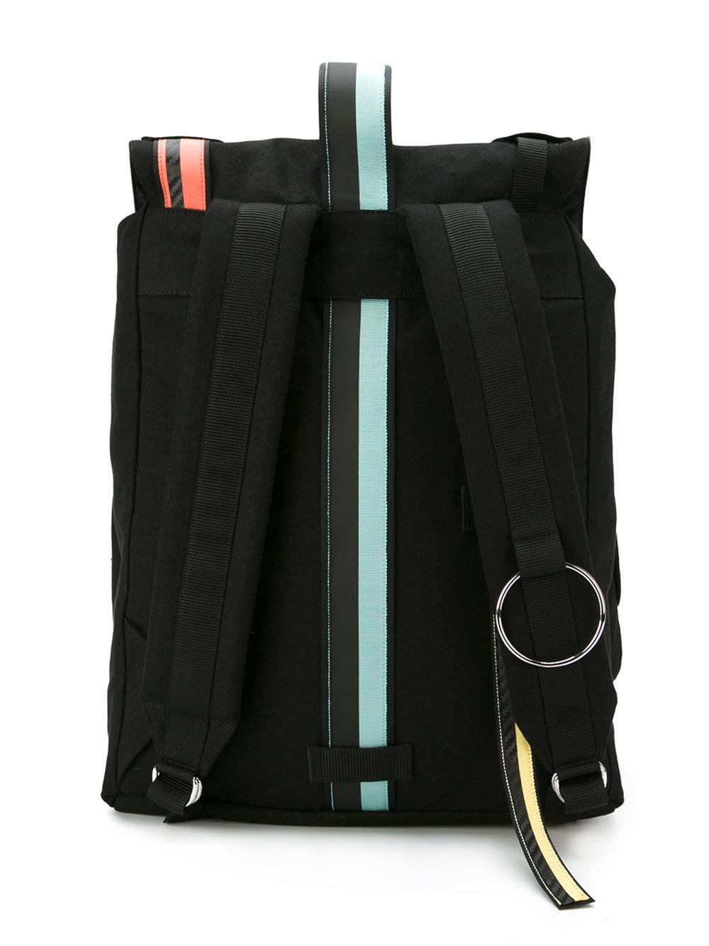 Lyst Raf Simons Colour Block Strap Backpack In Black For Men