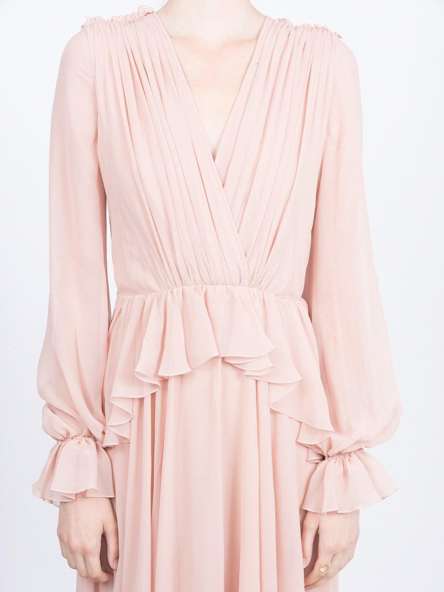 Giambattista Valli Silk Flared Maxi Dress in Pink
