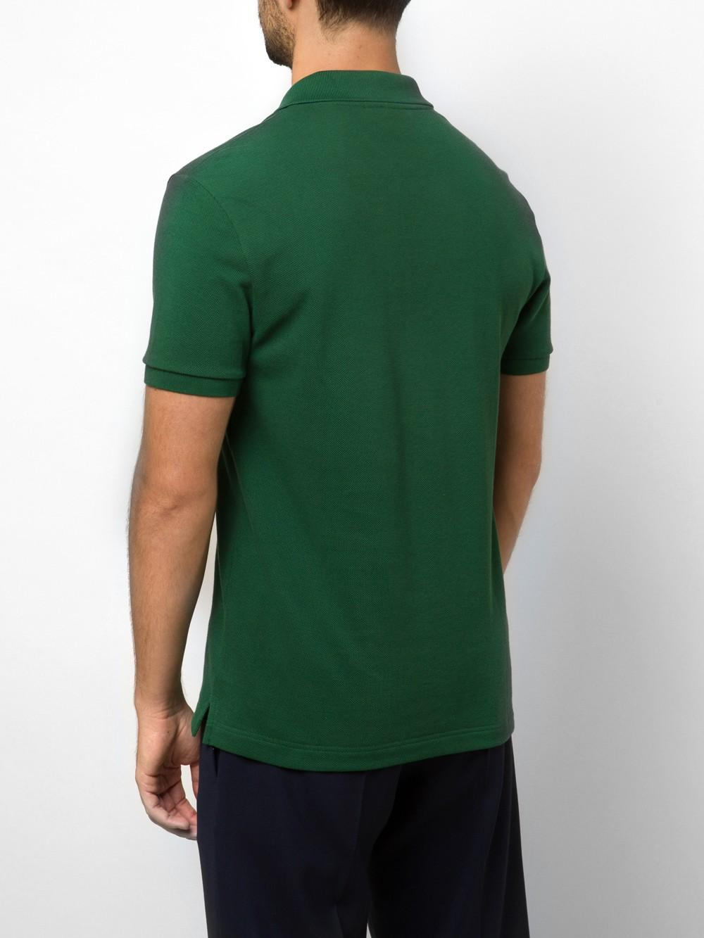 Lyst lacoste pique cotton polo shirt in green for men for Cotton polo shirts for men
