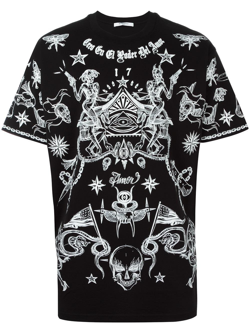 Lyst givenchy tattoo print t shirt in black for men for Givenchy t shirt man