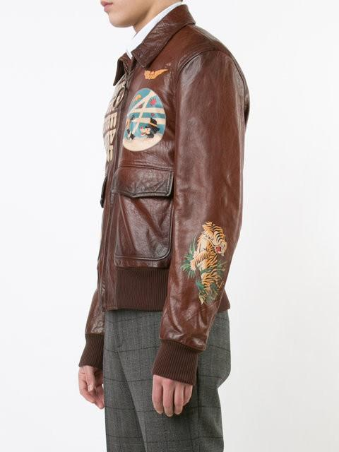 Off-White c/o Virgil Abloh Cotton Multi Patched Biker Jacket in Brown for Men