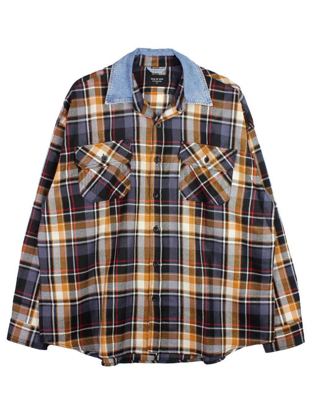 525b00fa74 Lyst - Fear Of God Muticolor Denim Collared Flannel Shirt in Blue ...