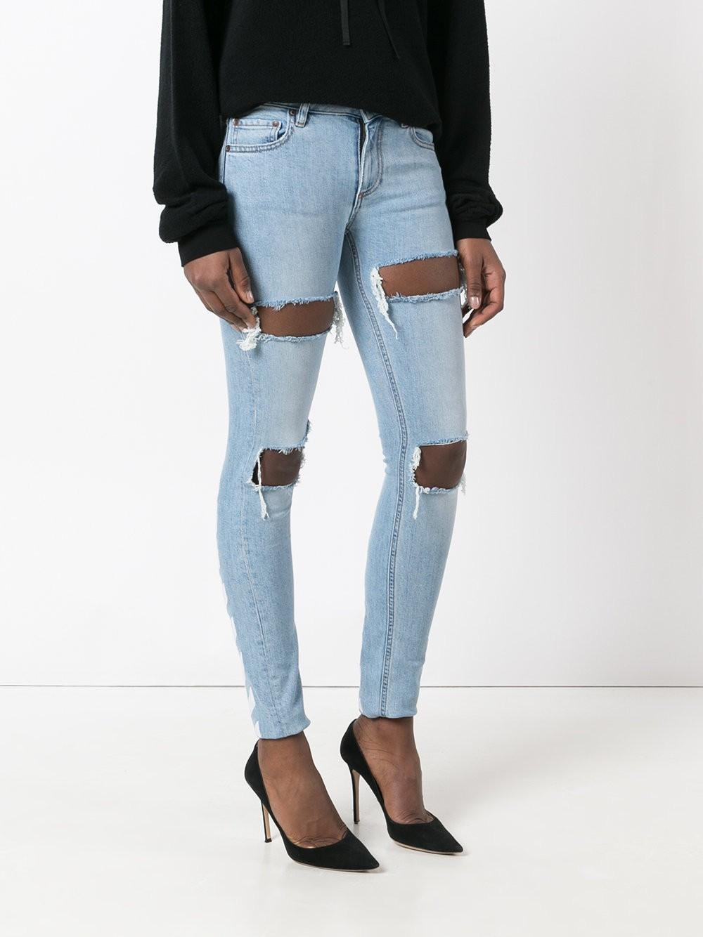 Off-White c/o Virgil Abloh Denim Ripped Drawstring Skinny Jeans in Blue