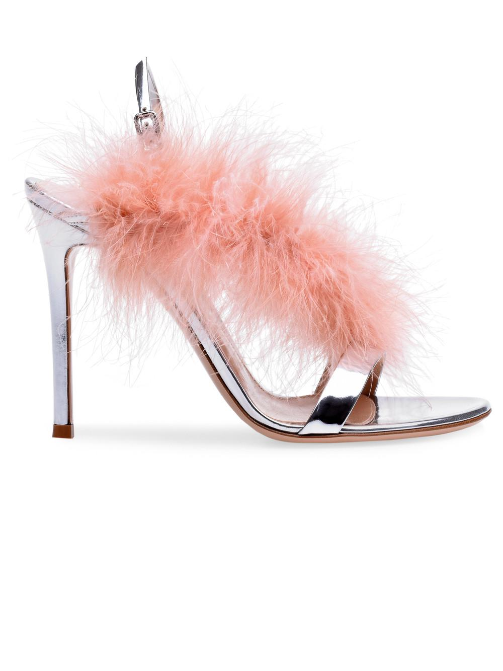 86a1b3a52ad Lyst - Gianvito Rossi Metallic Feather Sandals in Pink
