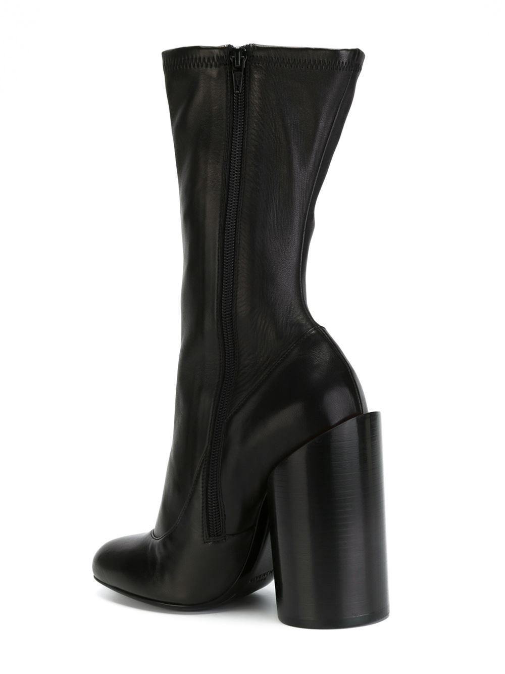 Givenchy Leather Sculpted Heel Boot in Black