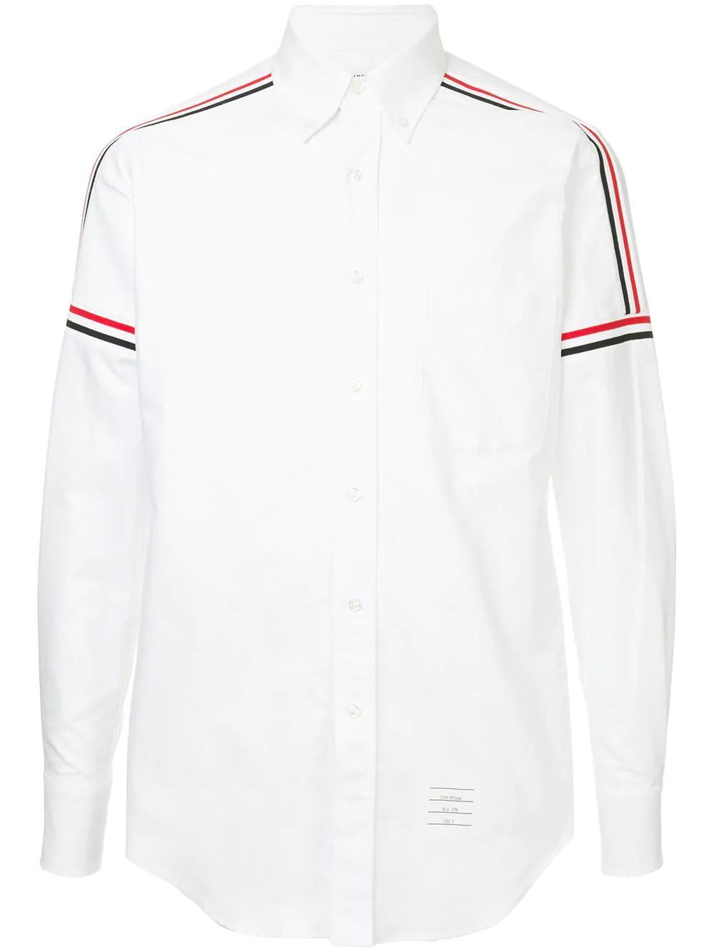 c23f279547 Thom Browne White Tricolour Stripe Cotton Shirt for men