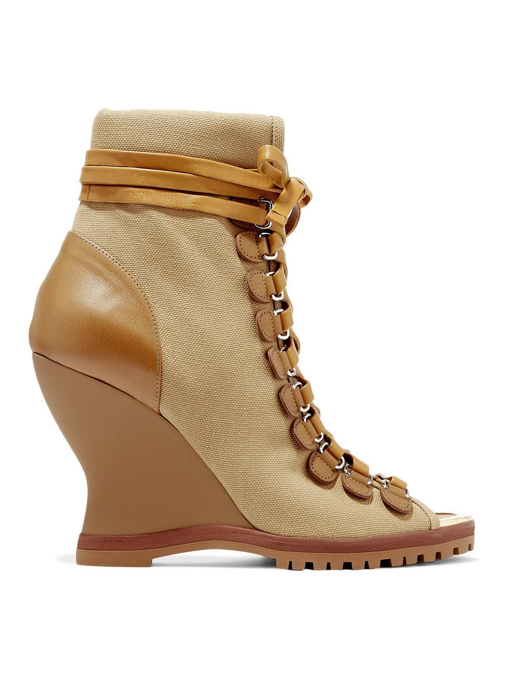Chloé River Canvas And Leather Wedge Ankle Boots in Brown