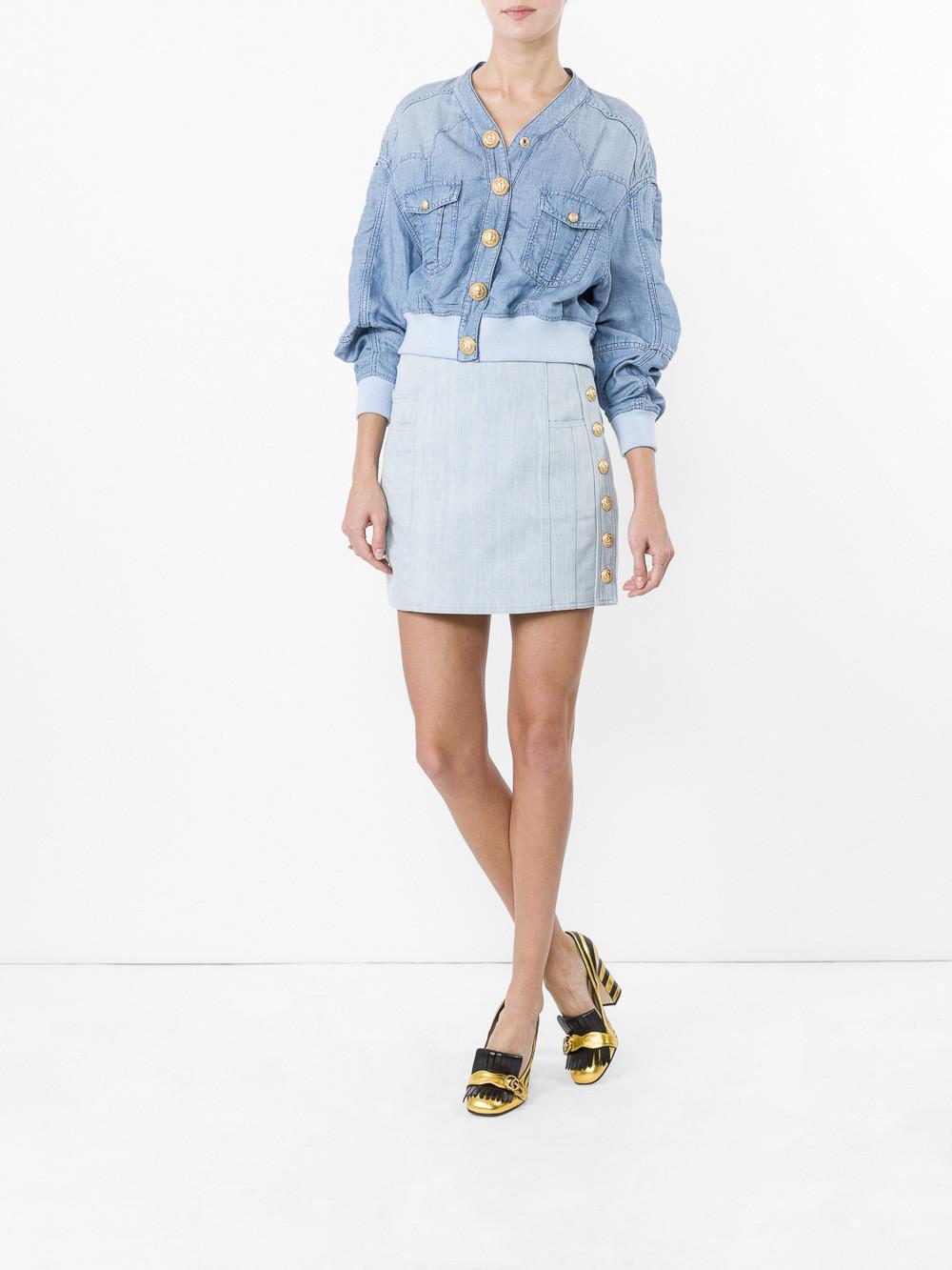 f7fe2132fb Lyst - Balmain Button-detailed Denim Mini Skirt in Blue