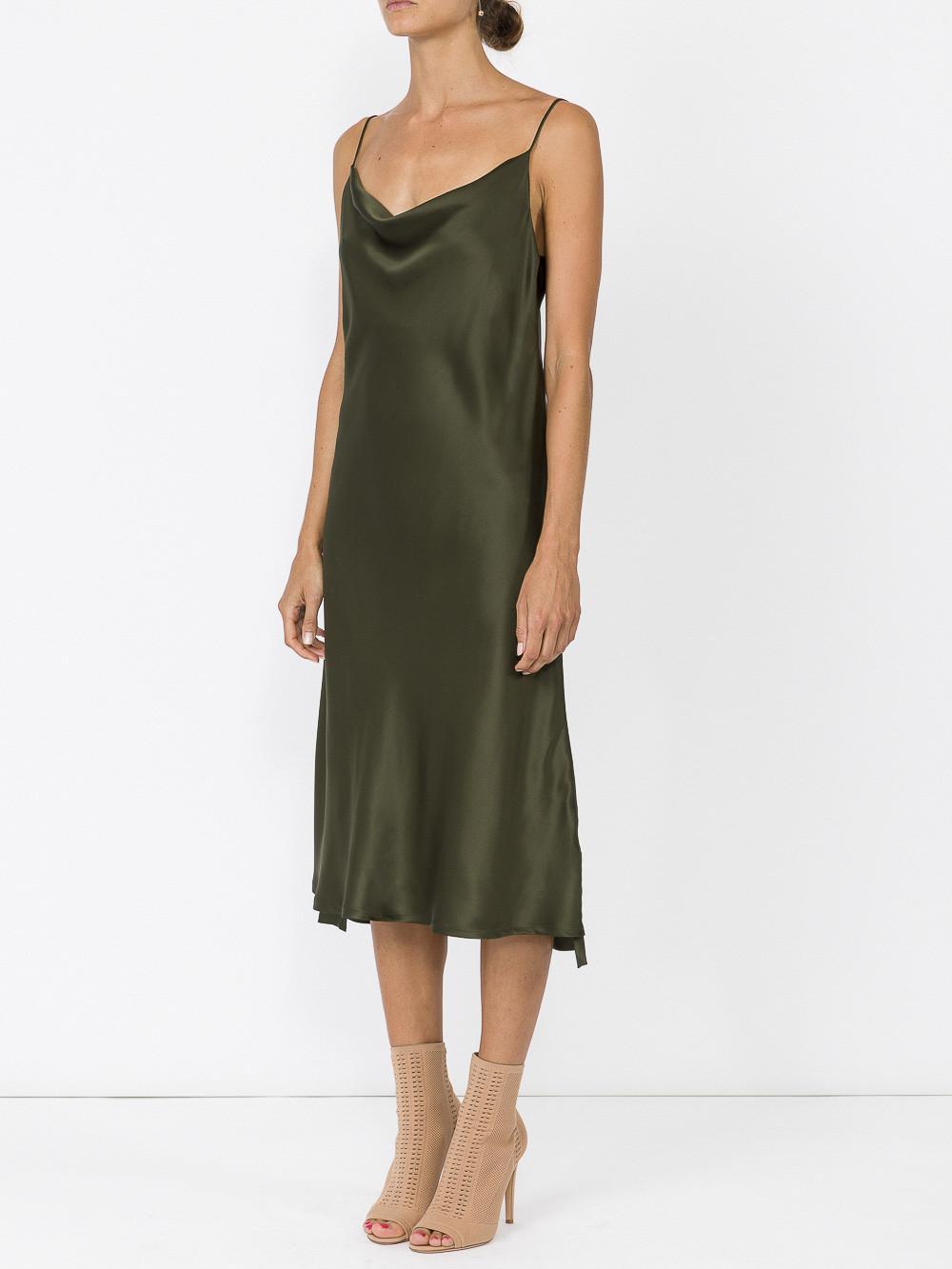 amazing selection classic pretty cheap Protagonist Silk Draped Bias Slip Dress in Green - Lyst