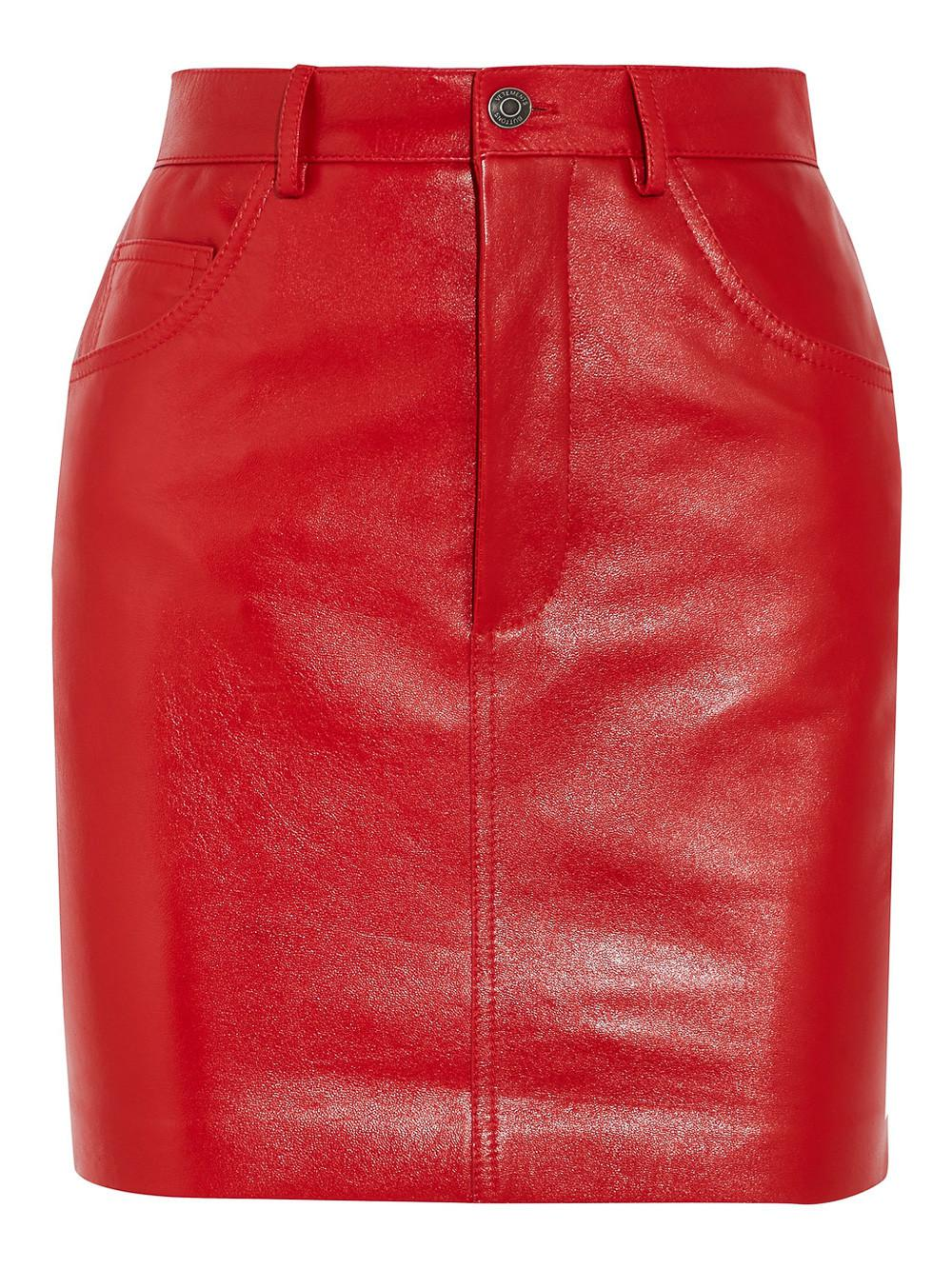 Vetements Leather Mini Skirt in Red