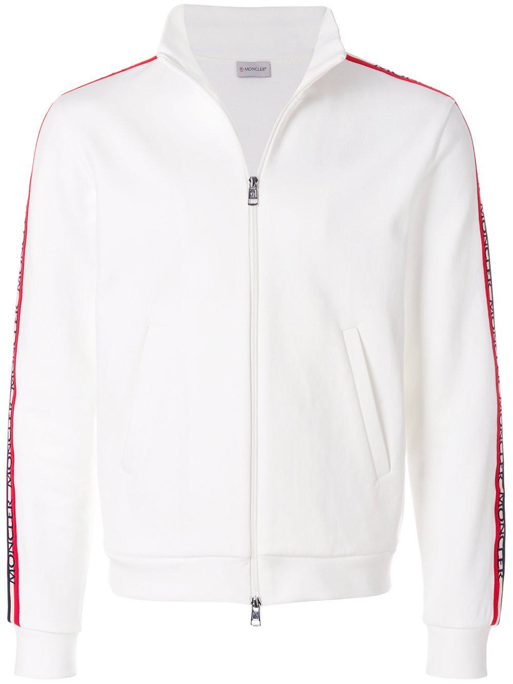Moncler Cotton Side Stripe Zip Jacket in White for Men