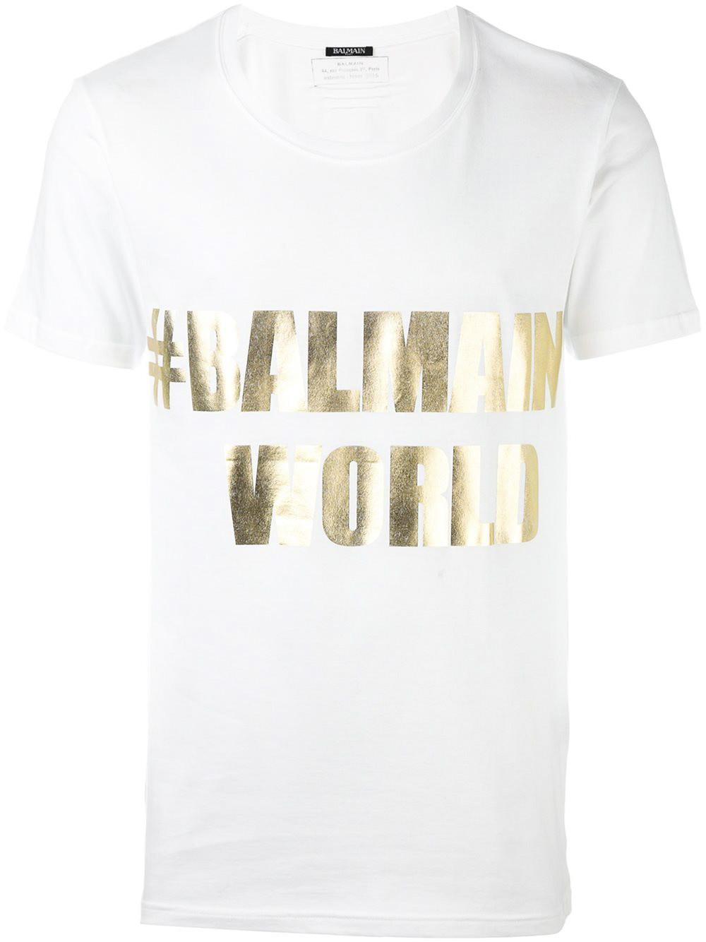 41e34f2b Balmain #world T-shirt in White for Men - Lyst