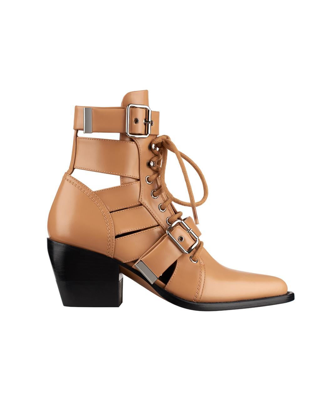 Chlo 233 Rylee Dust Cutout Leather Ankle Boots In Brown Lyst