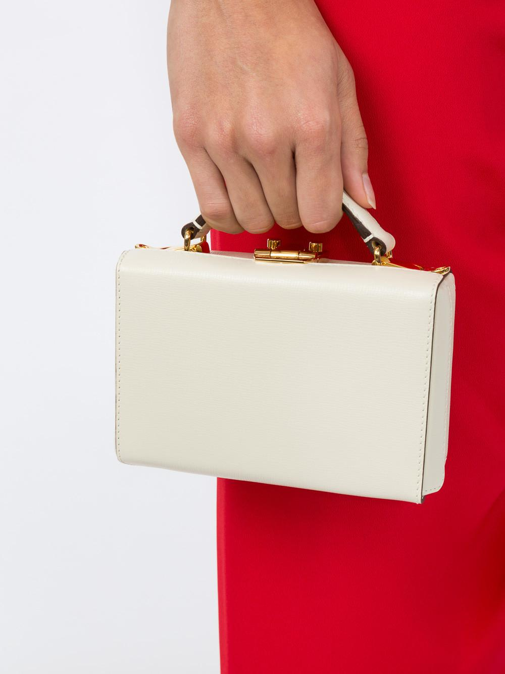 Mark Cross Leather Mini Ivory Grace Box in White