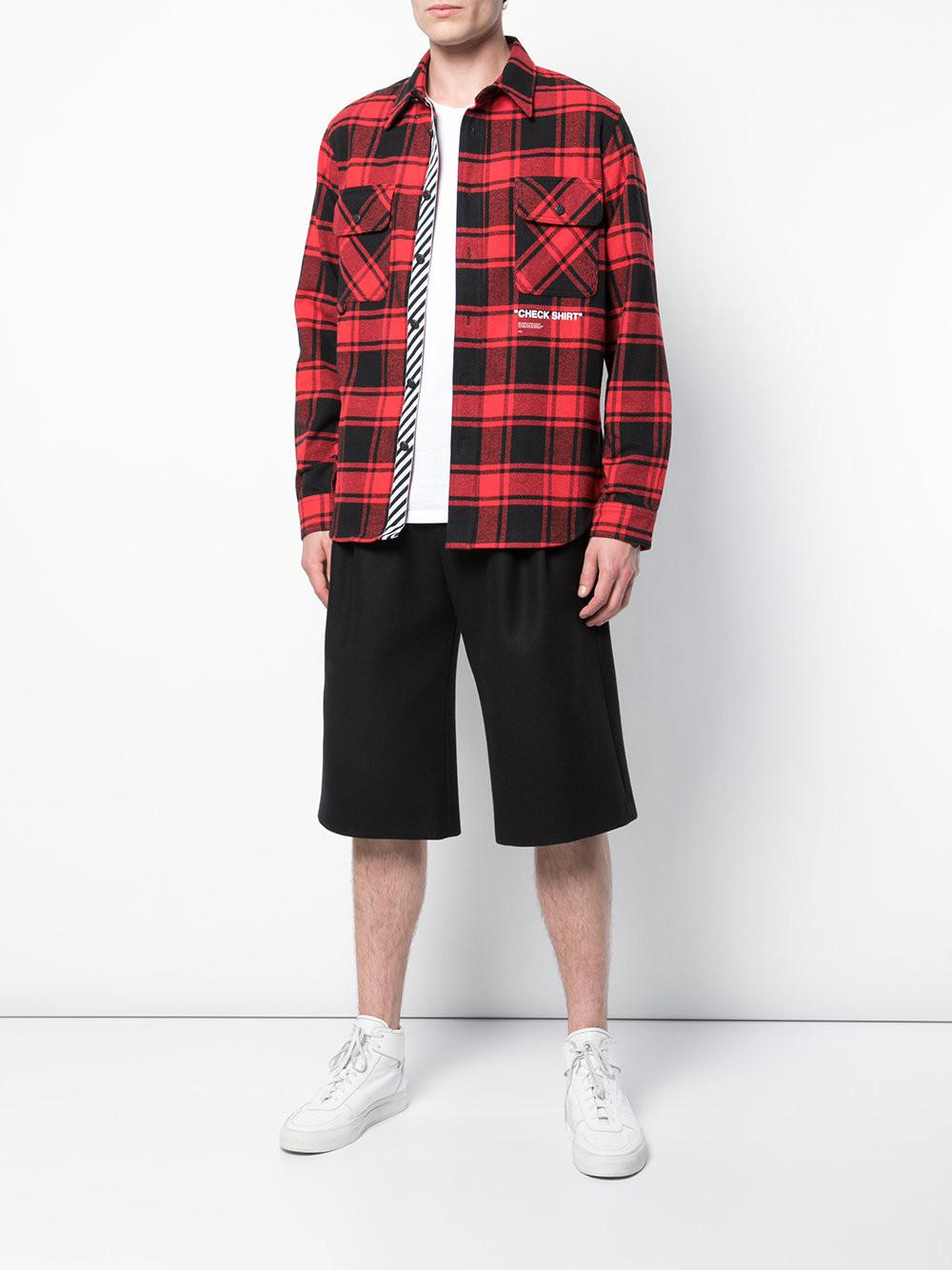 a619dd74ee66 Off-White c o Virgil Abloh Red Quote Checked Shirt in Red for Men - Lyst