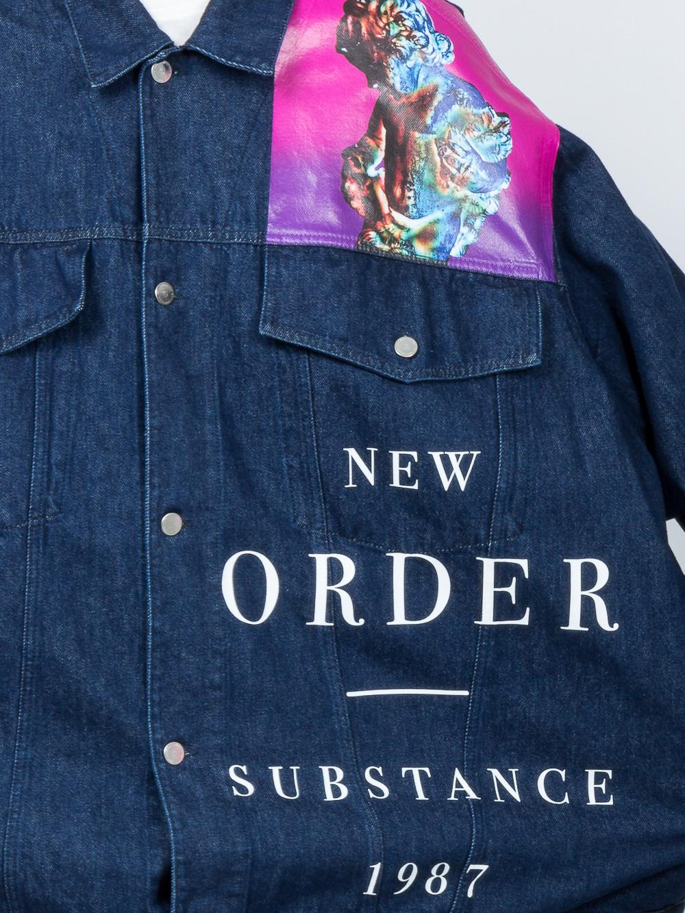 e1d7707c2c5 Raf Simons Blue X New Order Printed Denim Jacket for men