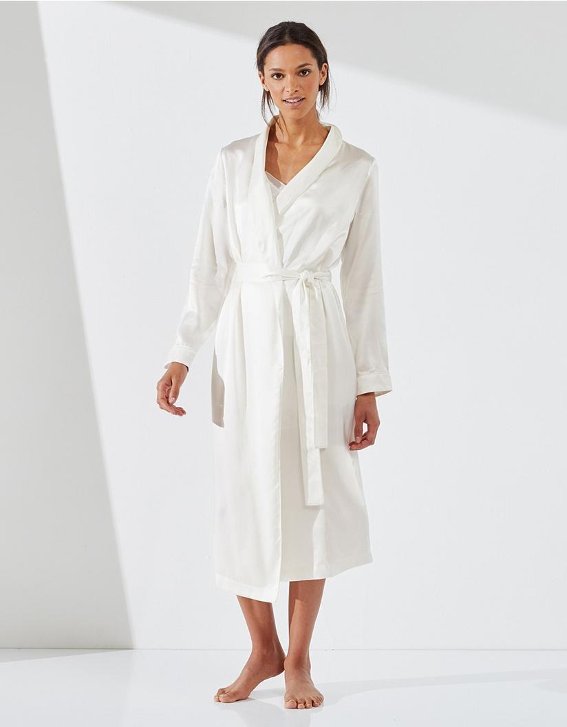 The White Company Silk Robe in White - Lyst