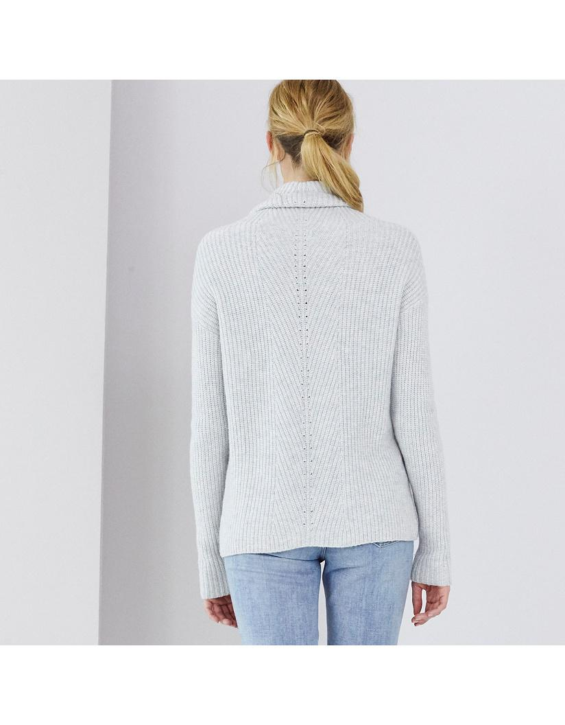 The White Company Wool Chunky Roll Neck Ribbed Jumper in Cloud Marl (Grey)