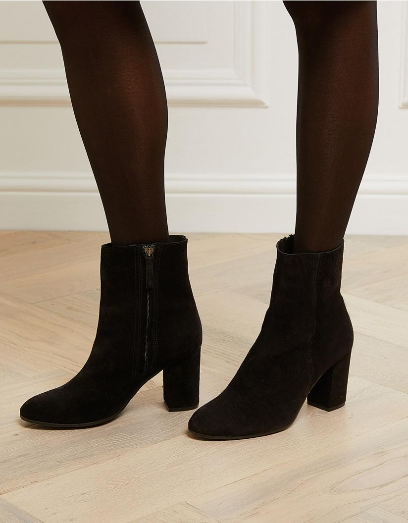 Suede Side Zip Ankle Boots in Black