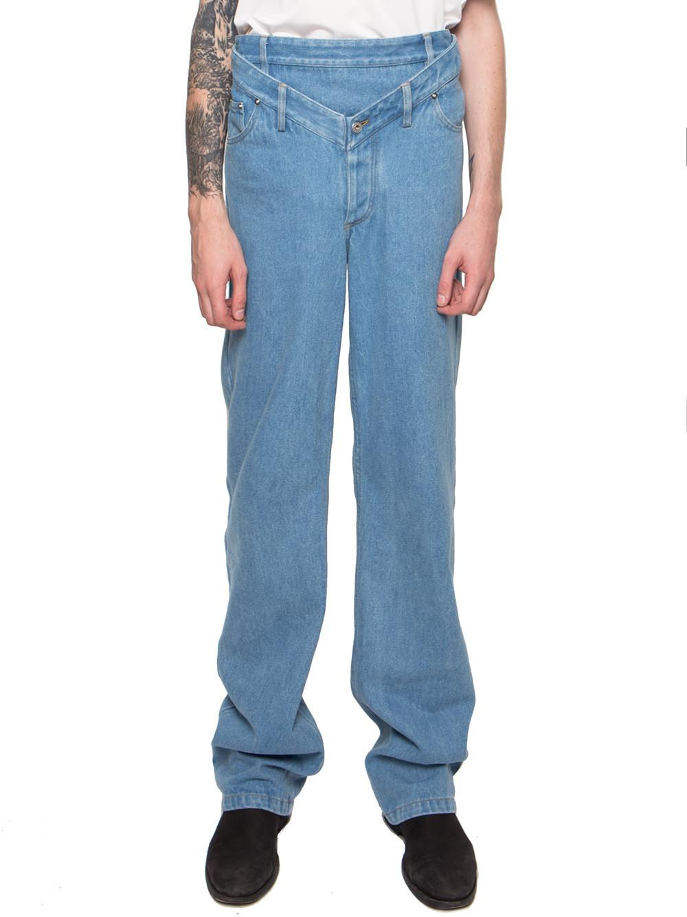 Y. project High-waisted V-front Jeans in Blue for Men | Lyst