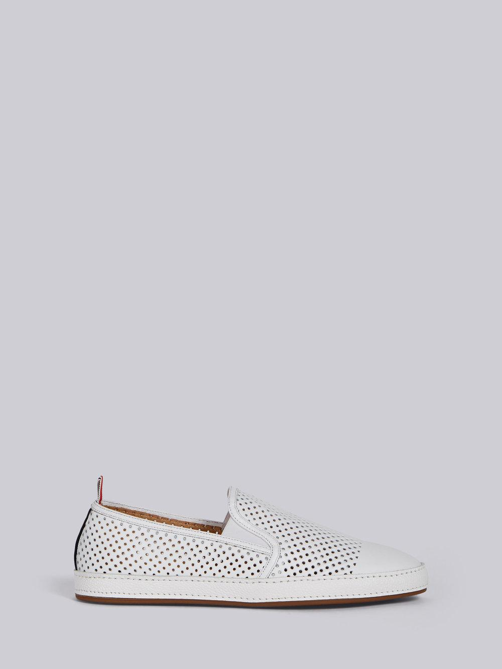 Espadrille With Leather Trim & Rubber Sole In Perforated Calf Leather - White Thom Browne MOZbgpp5wB
