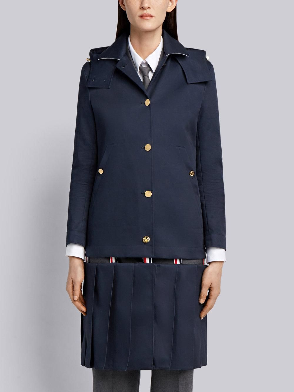 Low Slung-Pleated Bal Collar Overcoat In Mackintosh - Blue Thom Browne joanKh