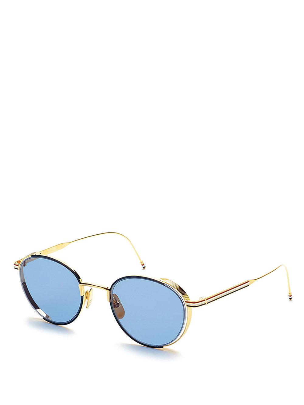Navy Enamel & 18k Gold Sunglasses - Blue Thom Browne fsZDGK8nT
