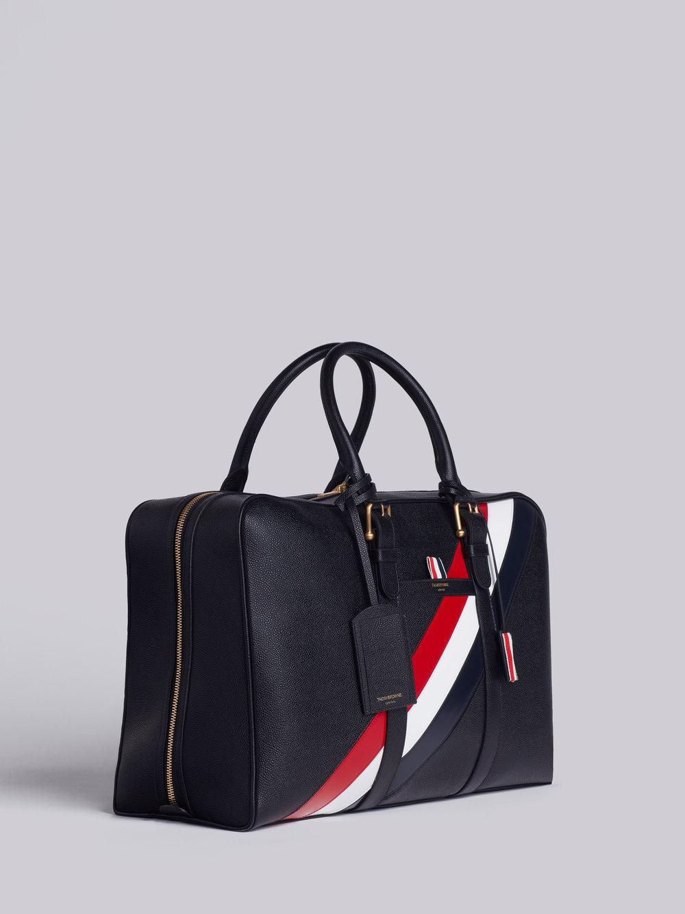 8d24c84c460 Lyst - Thom Browne Medium Holdall With Red, White And Blue Diagonal Stripe  In Pebble Grain & Calf Leather in Black for Men