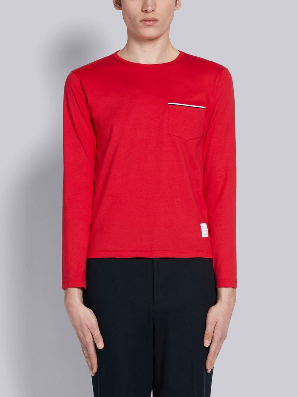 65dea5792b0 Thom Browne Rwb Pocket Trim Long-sleeve Tee in Red for Men - Lyst