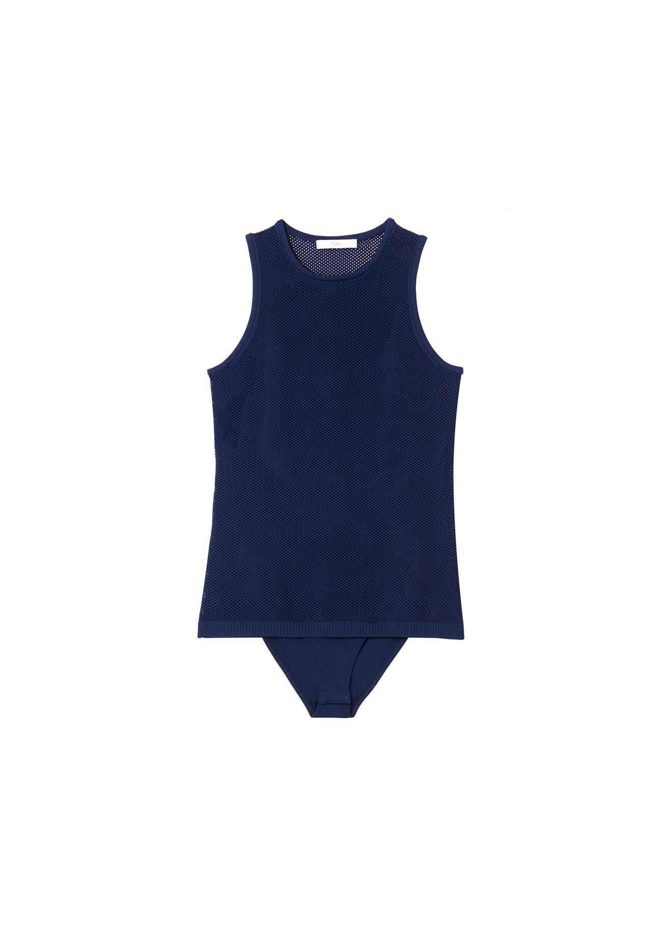 Tibi - Blue Tech Poly Mesh Bodysuit - Lyst. View fullscreen 374a2fd76